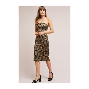 Tracy Reese Strapless Gold Jacquard Dress 8